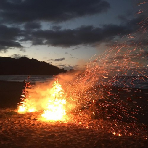 Bonfire on Hanalei bay